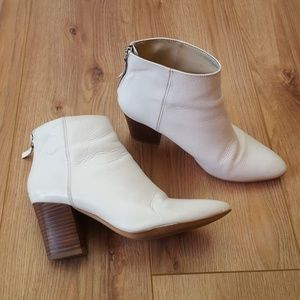 Zara White Leather Ankle Boots Wood Heel